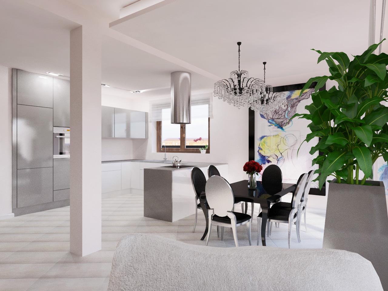 Projekt wnętrza z kuchnią w stylu glamour