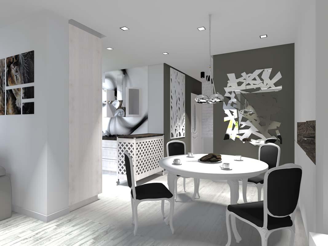 Wnętrze eleganckiej kuchni z jadalnią - projekt wnętrza.